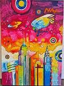 Peter Max (Acrylic on Canvas) In the style of