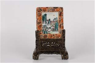 A Chinese Porcelain Table Screen With Calligraphy