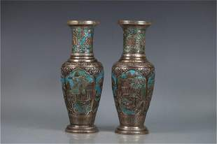 A Pair of Chinese Decrative Silver Vases