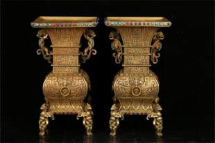 A Pair of Chinese Gilt Bronze Porcelain Vases