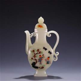 A Chinese Carved Jade Wine Pot