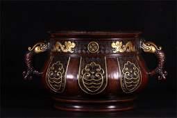 A Chinese Dragon Pattern Gilt Bronze Censer