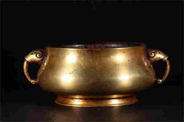 A Chinese Gilt Bronze Double Ear Incense Burner