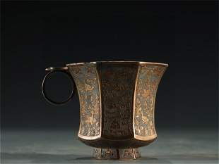 A Flower and Bird Patterned Gilt Bronze Cup