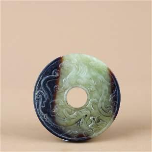 A Chinese Carved Jade Jade Bi Decoration