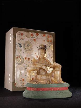A Chinese Carved Stone Figure of Guanyin