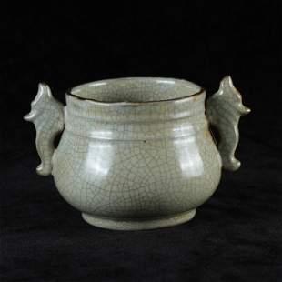 A White Glazed Porcelain Double Ear Incense Burner