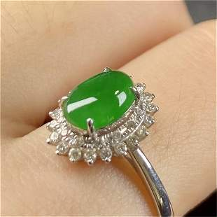 A Chinese Carved Jadeite Ring