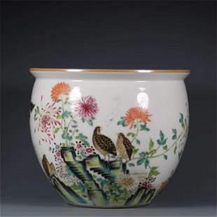 A Chinese Famille Rose Porcelain Vat