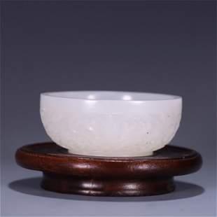 A Carved Jade Flower Patterned Bowl