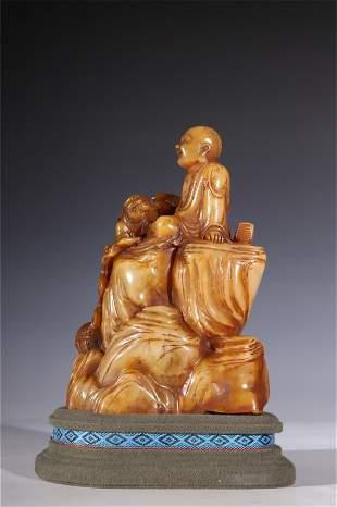 A Carved Shoushan Stone Buddha Ornament