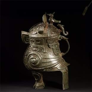 A Bronze Bird Shaped Zun Vase