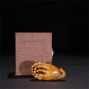 A Carved Stone Buddha Hand Shaped Ornament