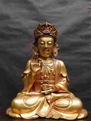 A Gilt Bronze Figure of Guanyin