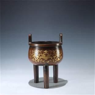A Gilt Bronze Flower Patterned Incense Burner