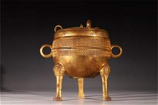 A Gilt Bronze Tripod Incense Burner