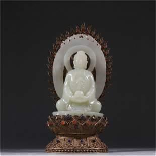 A Jade Buddha Statue with Gilt Silver Base