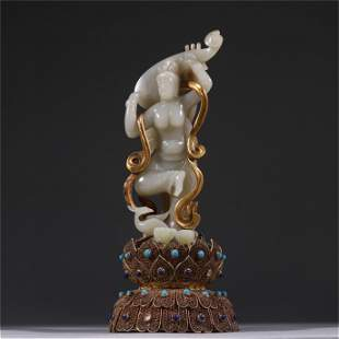 A Carved Jade Figure Statue