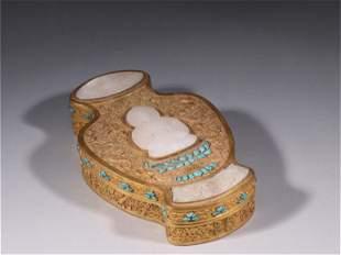 A Gilt Bronze&Jade Lidded Box with Dragon Pattern