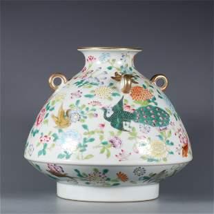 A Famille Rose Porcelain Vase with Flower Pattern