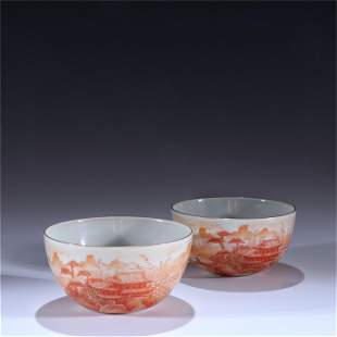 A Pair of Iron Red Glazed Porcelain Cups