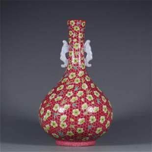 A Red Underglazed Famille Rose Porcelain Vase