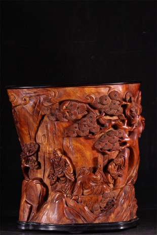 A Carved Hardwood Figure and Story Brush Pot