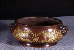 A Gilt Bronze Double Lion Ear Incense Burner