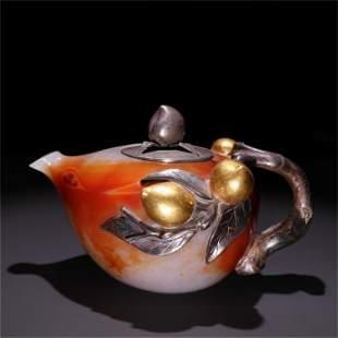 An Agate & Gilt Silver Peach Patterned Teapot