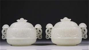 A Pair of Carved Jade Lidded Censers