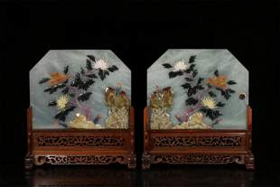 A Pair of Carved Jade Table Screens