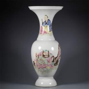A Famille Rose Figure Patterned Porcelain Vase
