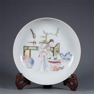 A Famille Rose Figure Patterned Porcelain Plate