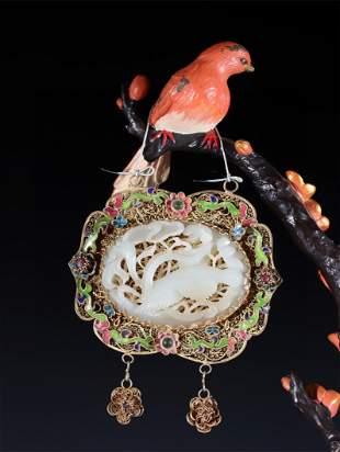 A Gilt Bronze Decoration with Jade Inlaid