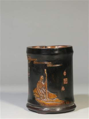 A Carved Bamboo Figure & Story Brush Pot