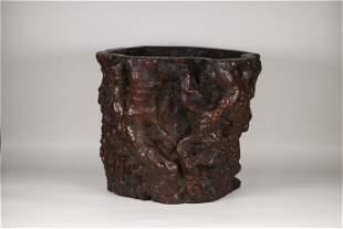 A Carved Hardwood Brush Pot