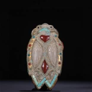 A Gilt Bronze & Jade Box with Cover