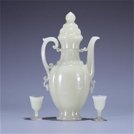 A Carved Jade Wine Pot with Cups