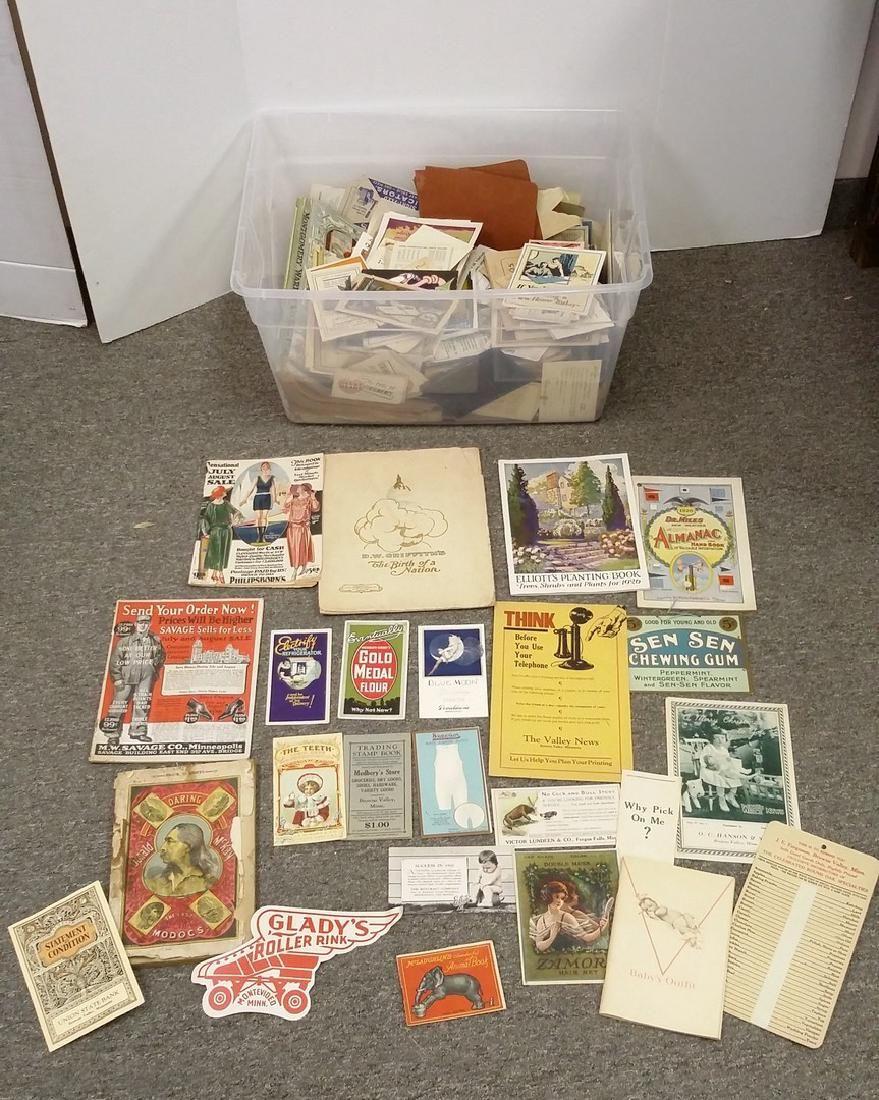 Large group ephemera including catalogs, advertising,