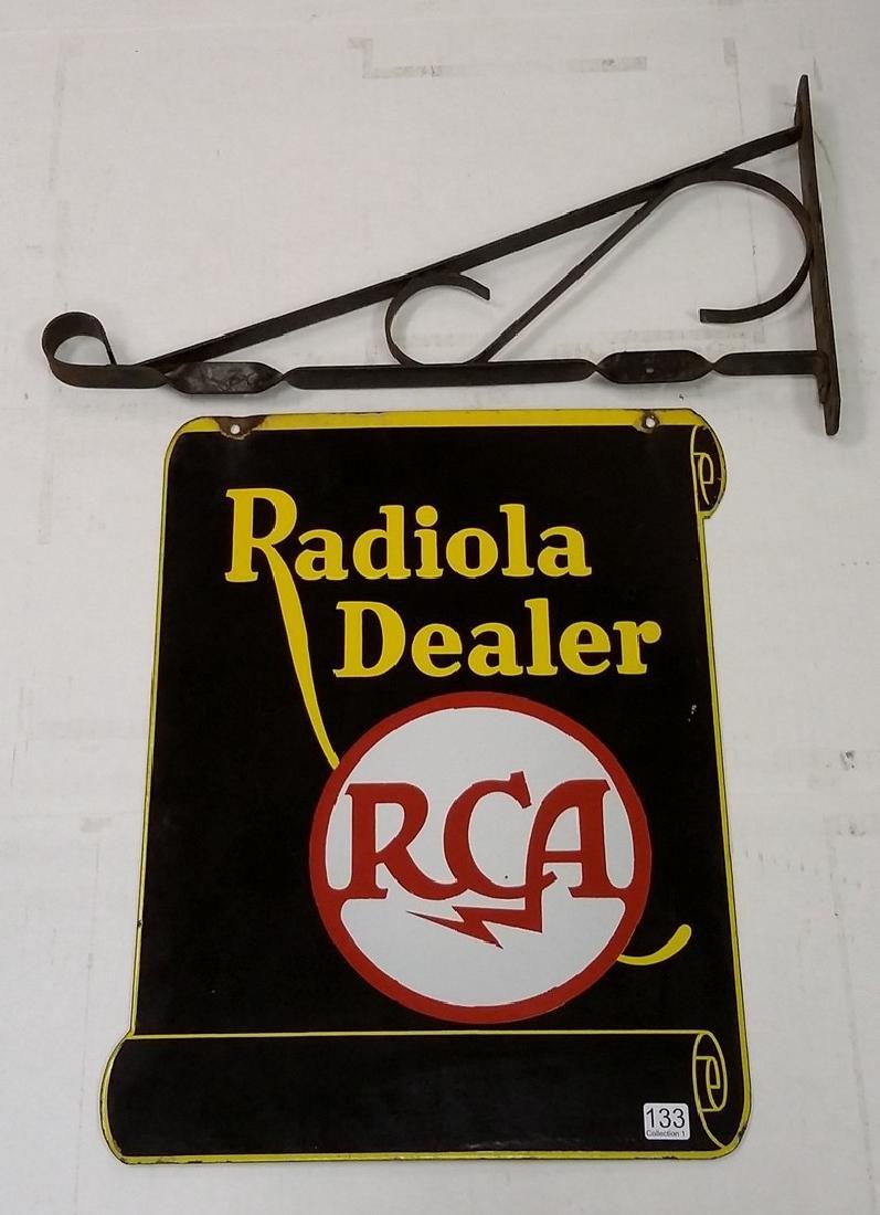 RCA Radiola Dealer double sided enameled metal sign