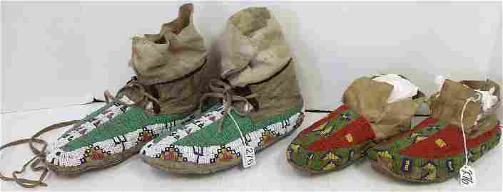 2 pair Plains beaded moccasins