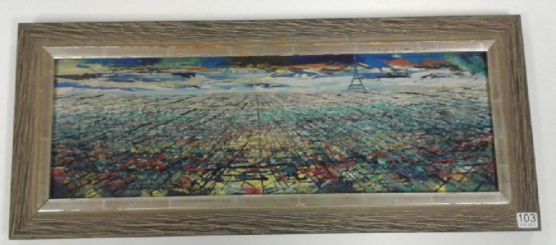 Signed Rae Minelli Paris oil on canvas inside