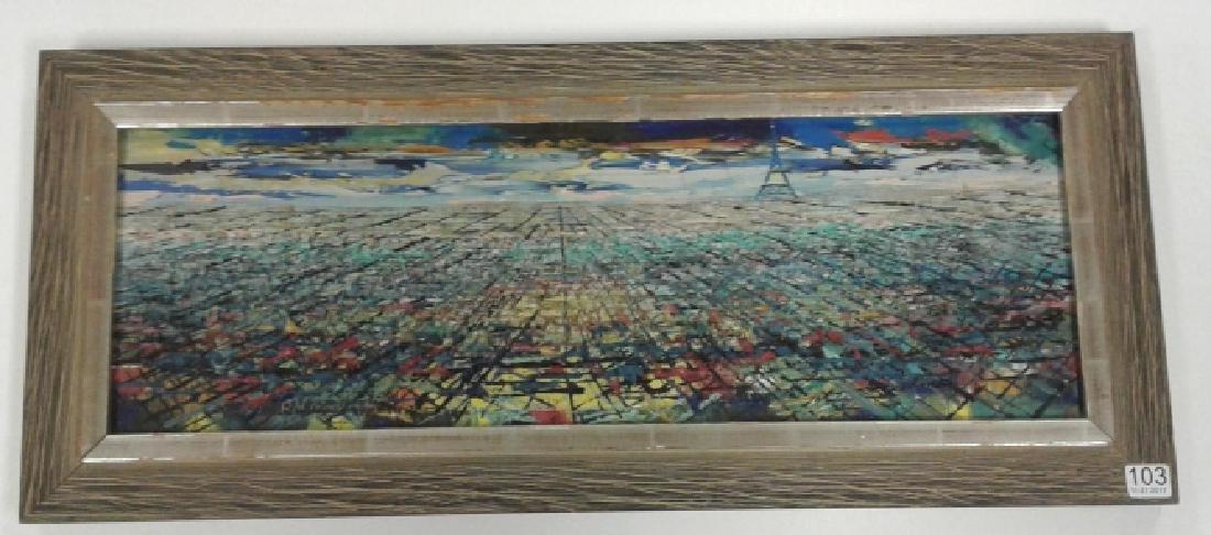 Signed Rae Minelli Paris oil on canvas inside