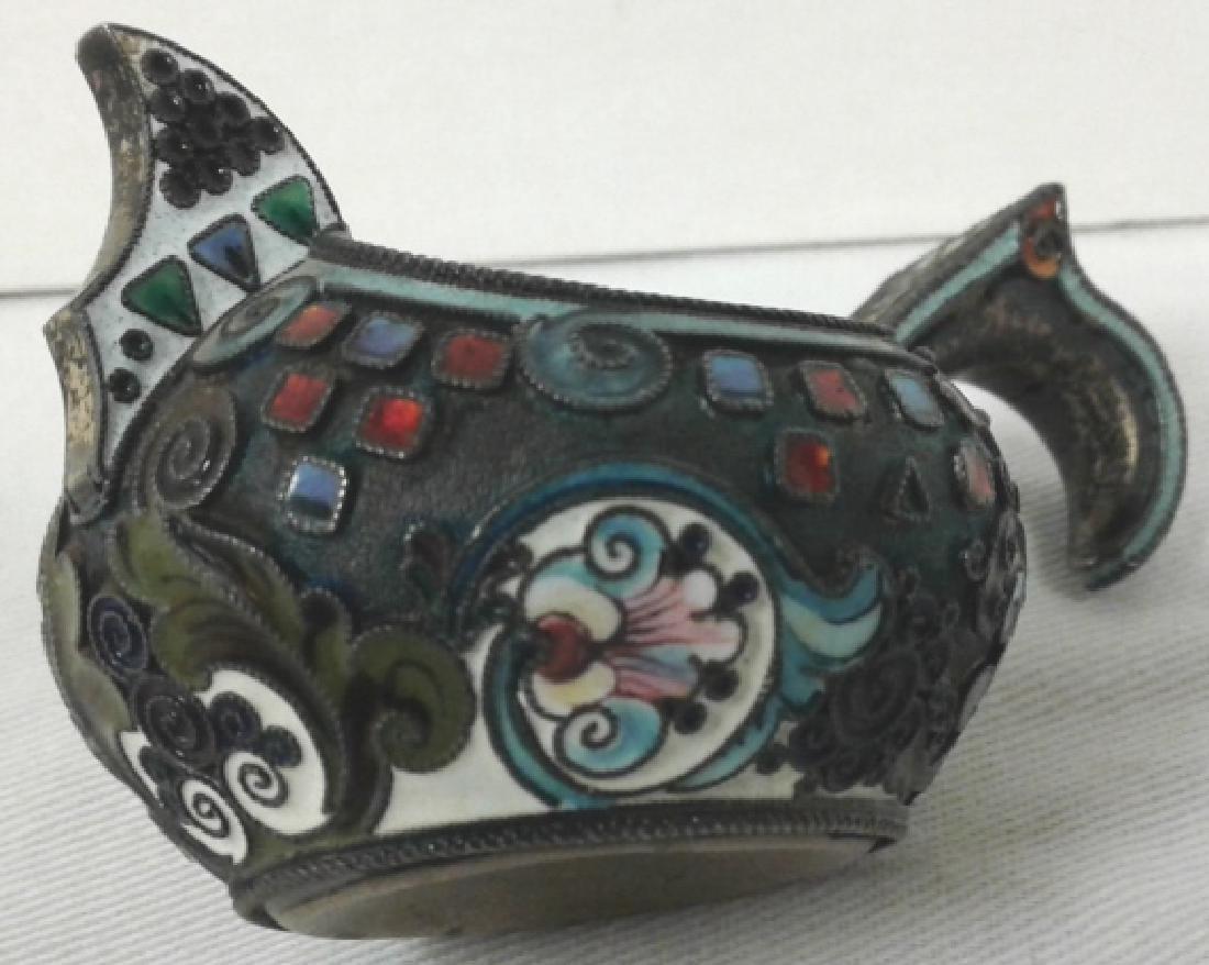 Vintage Russian hallmarked silver & enameled Kvosh - 3