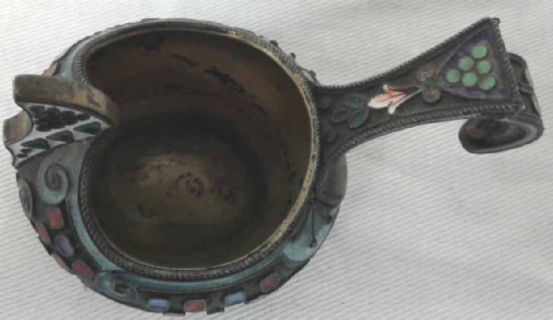 Vintage Russian hallmarked silver & enameled Kvosh - 4