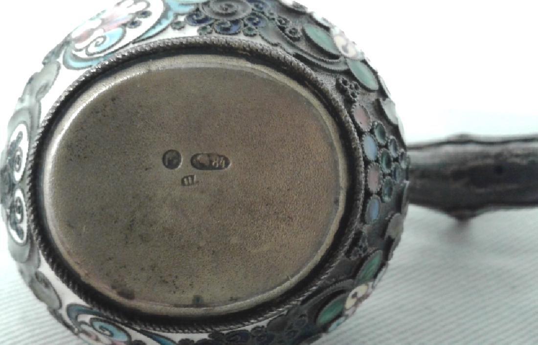 Vintage Russian hallmarked silver & enameled Kvosh - 6