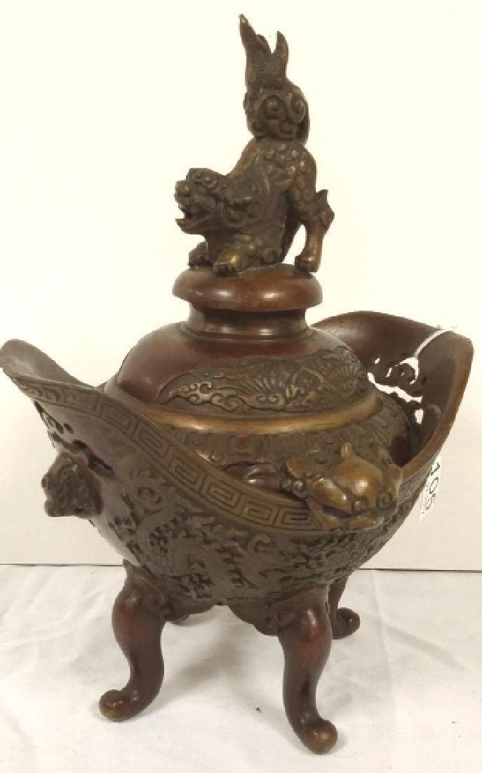 "Oriental bronze 9 1/2"" lidded censer"