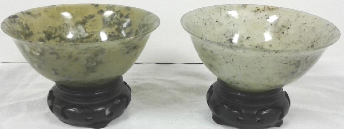 """Pair of approx. 4"""" wide x 1 3/4"""" tall jade bowls with"""