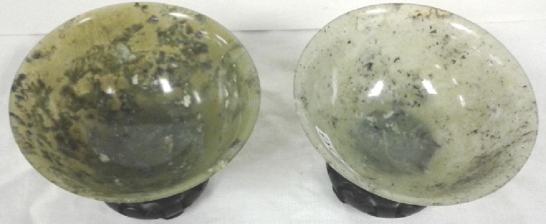 """Pair of approx. 4"""" wide x 1 3/4"""" tall jade bowls with - 2"""