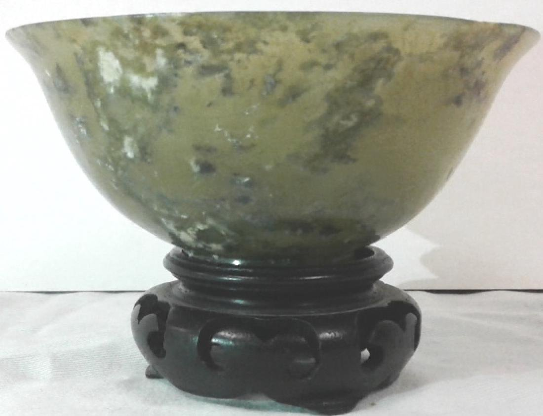 """Pair of approx. 4"""" wide x 1 3/4"""" tall jade bowls with - 3"""